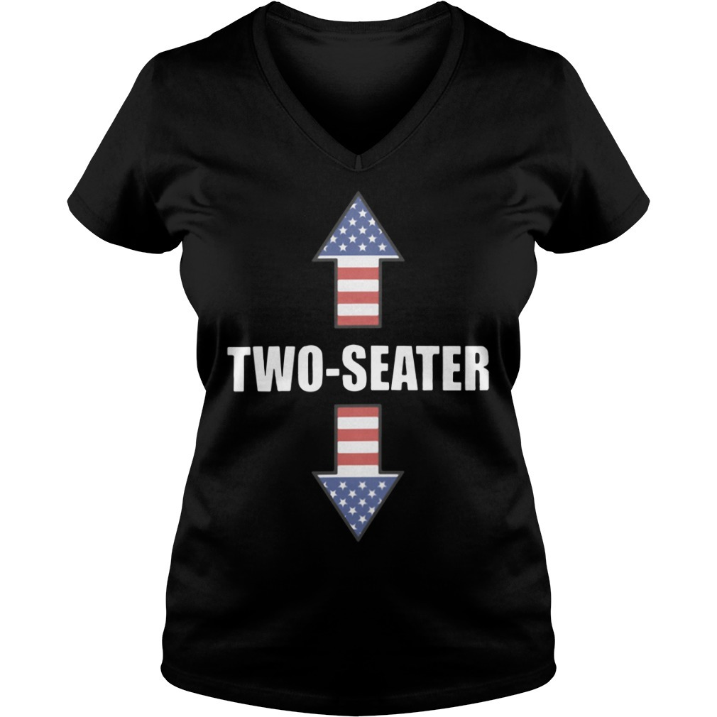 Two seater American flag V-neck T-shirt