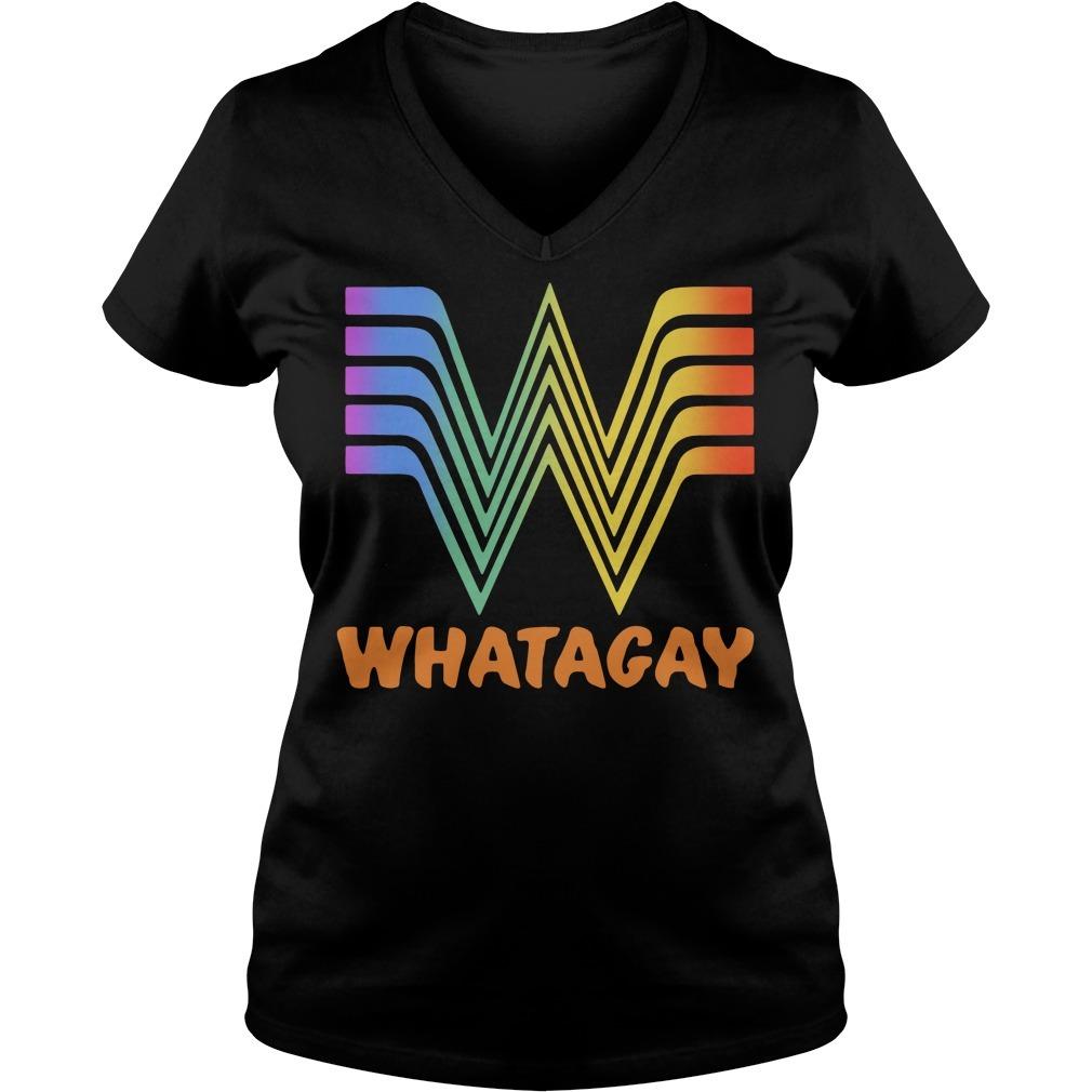 Whatagay Whataburger LGBT V-neck T-shirt