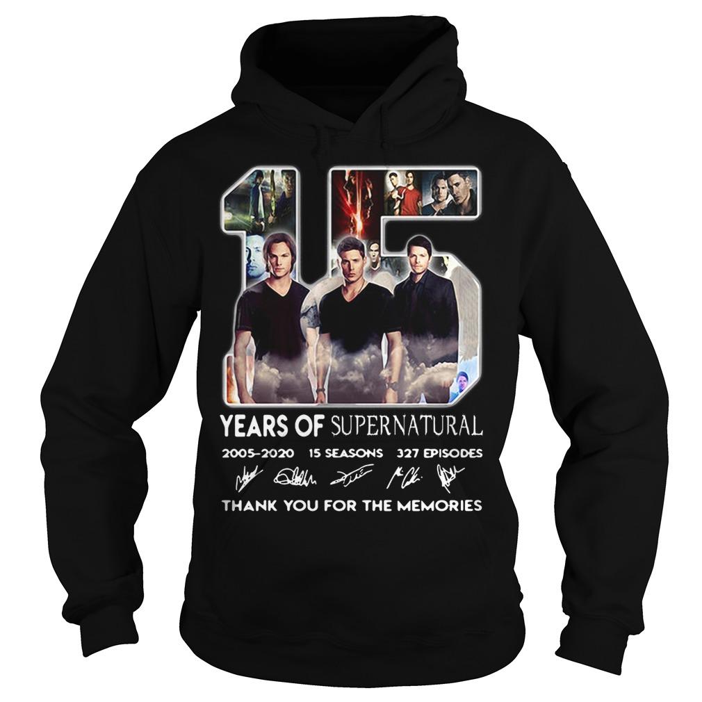 15 Years of Supernatural 2005-2020 15 seasons 327 episodes signature Hoodie