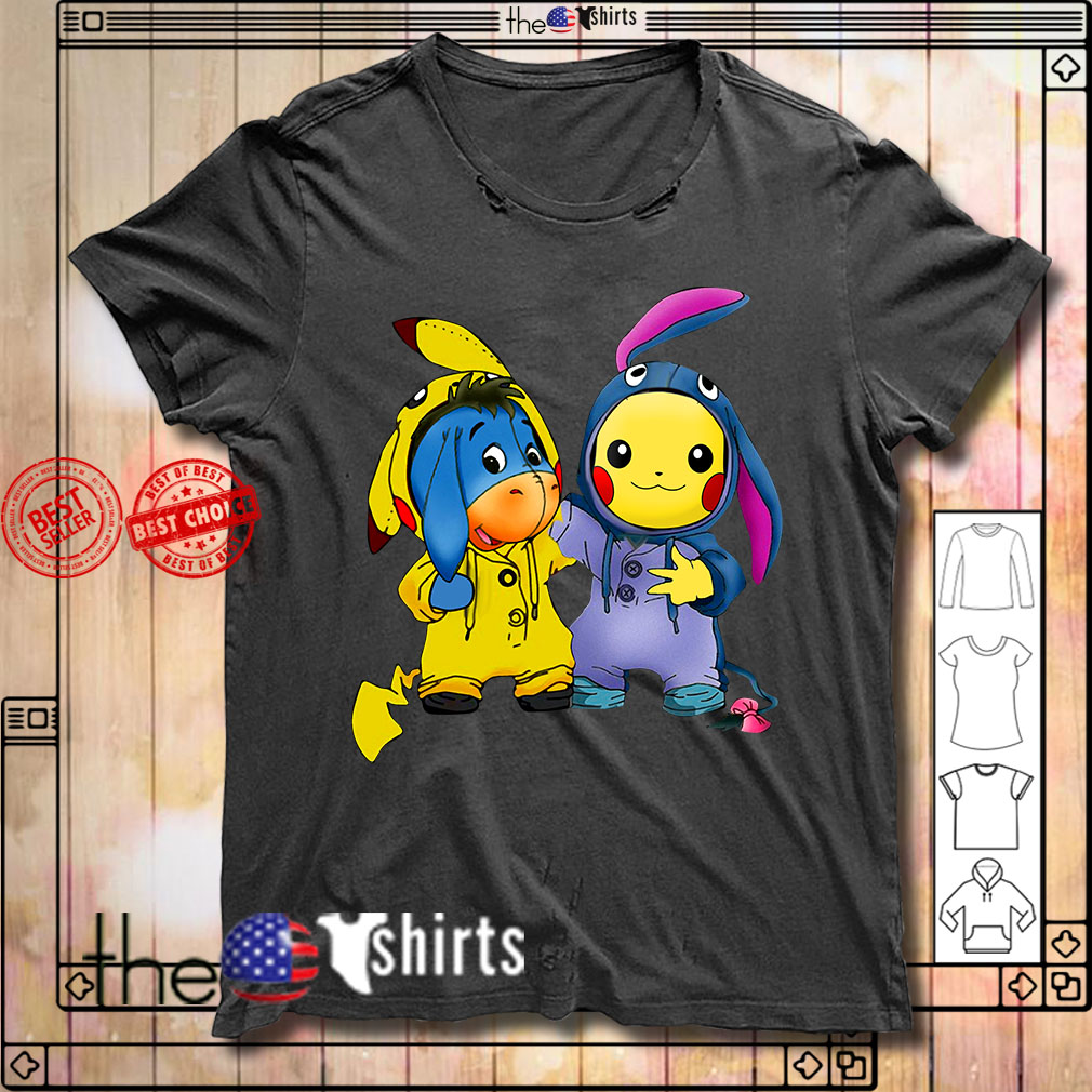 Baby Eeyore Donkey and Pikachu shirt