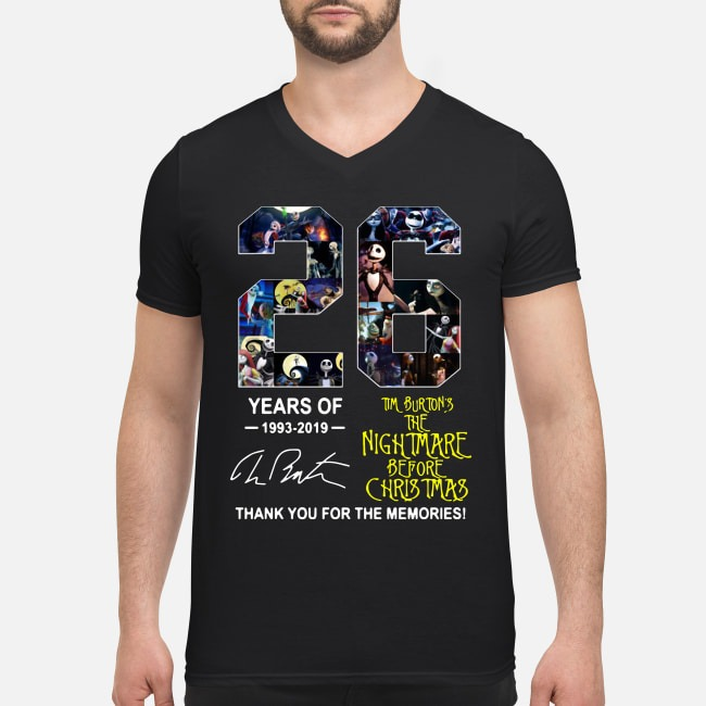 26 Years of Tim Burton's The Nightmare Before Christmas 1993-2019 signature V-neck T-shirt