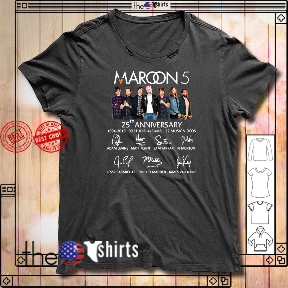 Maroon 5 25th anniversary 1994-2019 9 studio albums 22 music videos shirt