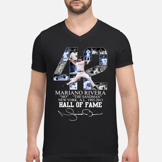42 Mariano Rivera Mo the sandman New York 1995-2013 hall of fame V-neck T-shirt