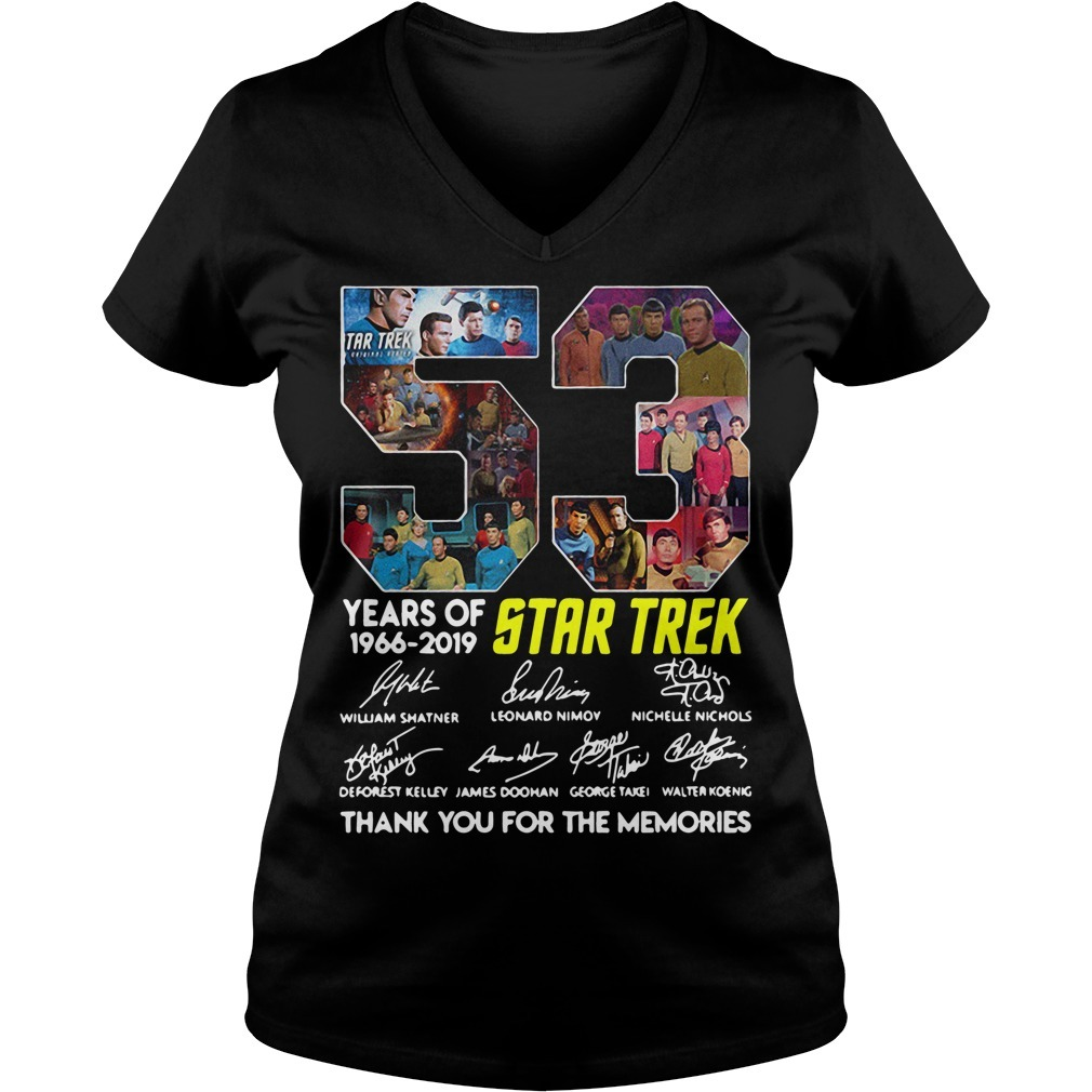 53 Years of Star Trek 1966-2019 thank you for the memories signatures V-neck T-shirt