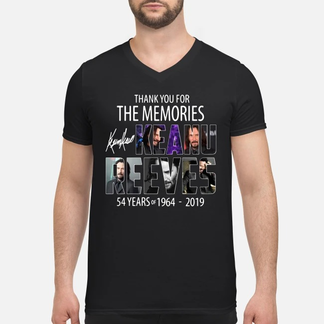 54 Years of Keanu Reeves 1964-2019 thank you for the memories V-neck T-shirt