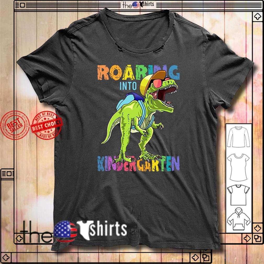 Dinosaur roaring into Preschool shirt