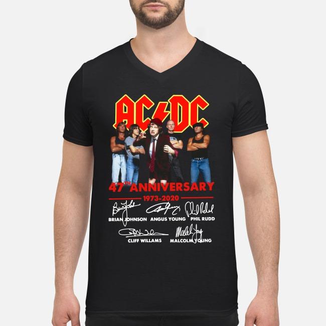 AC/DC 47th anniversary 1973-2020 signatures V-neck T-shirt