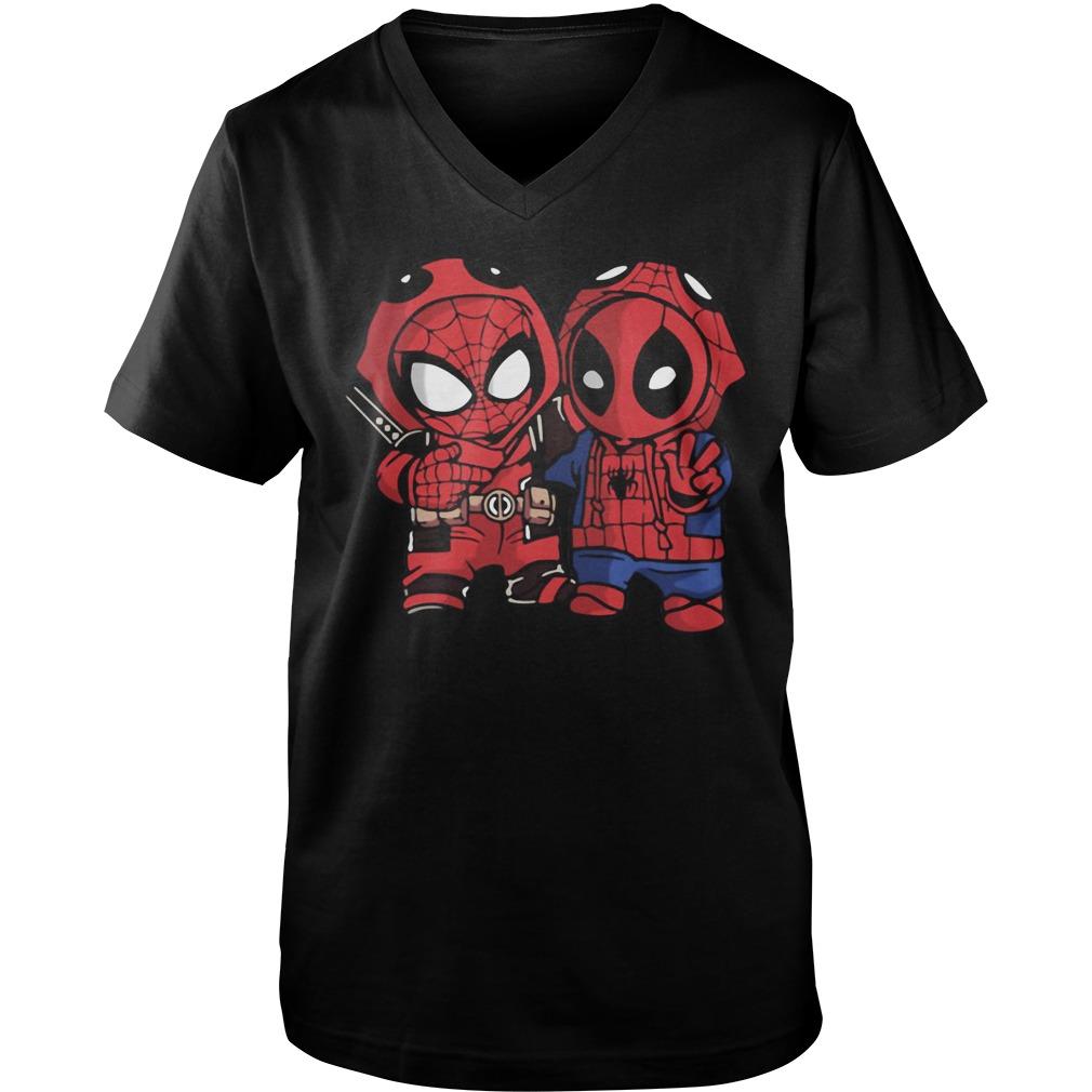 Baby Deadpool and Spider-Man Guy V-Neck