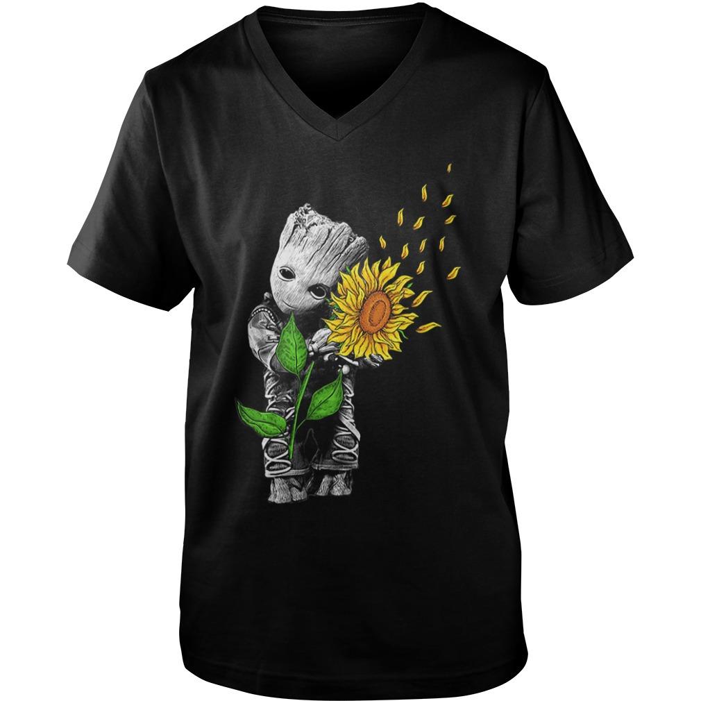 Baby Groot hug sunflower Guy V-Neck