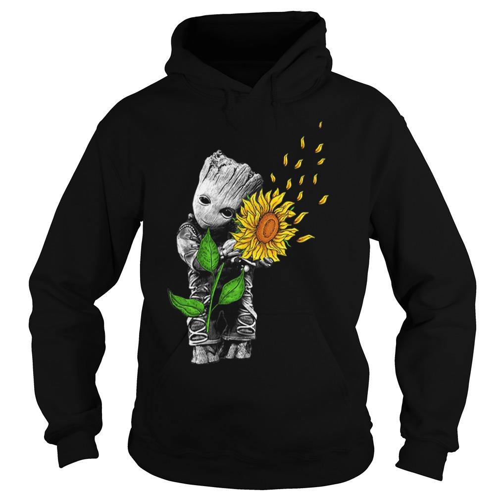 Baby Groot hug sunflower Hoodie