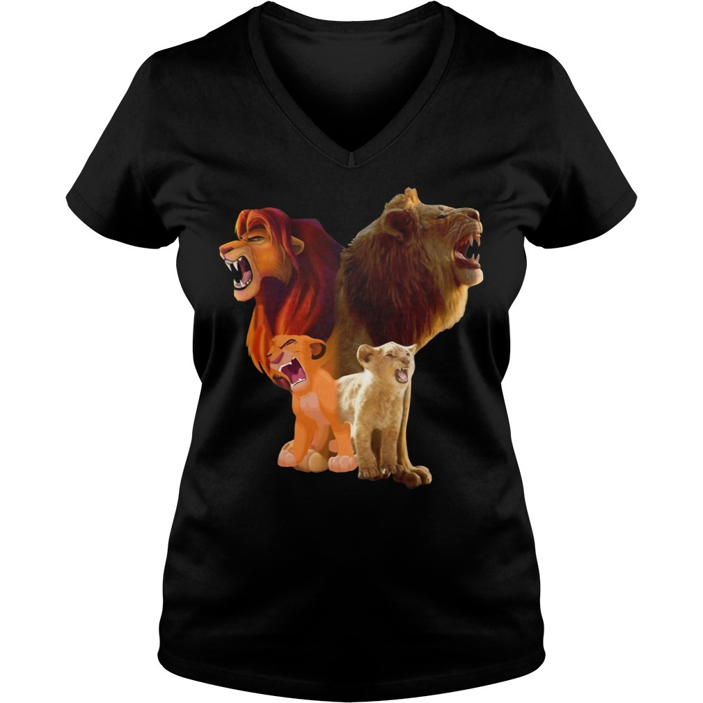 Baby Lion and adut lion The Lion King 2019 V-neck T-shirt