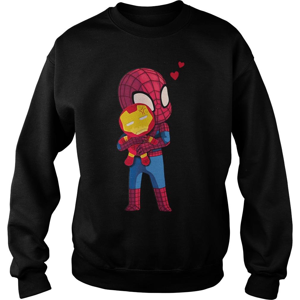 Baby Spider-Man hug Iron Man shirt