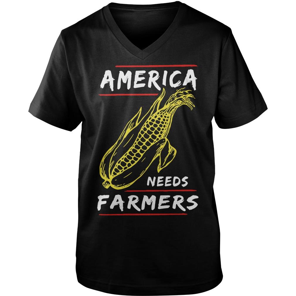 Corn Famer America Guy V-Neck