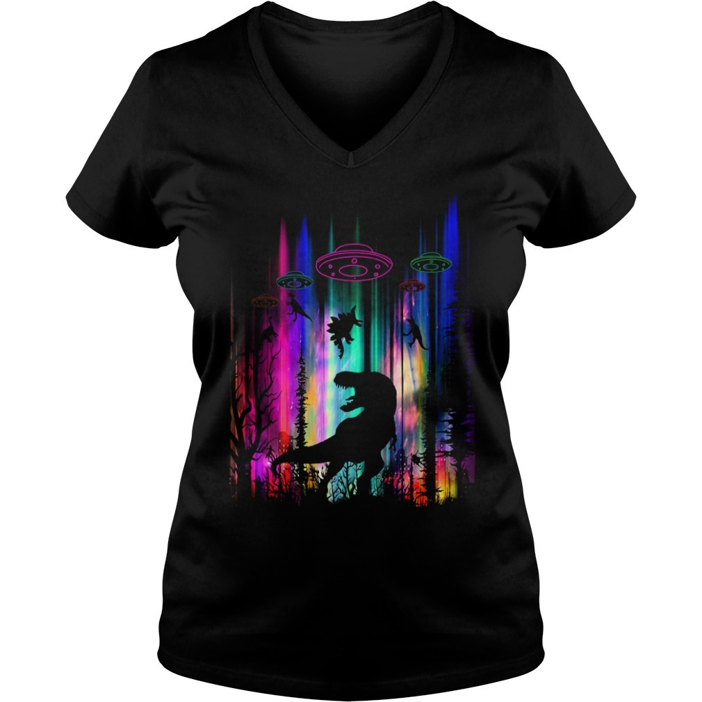 Dinosaur alien abduction Storm Area 51 V-neck T-shirt