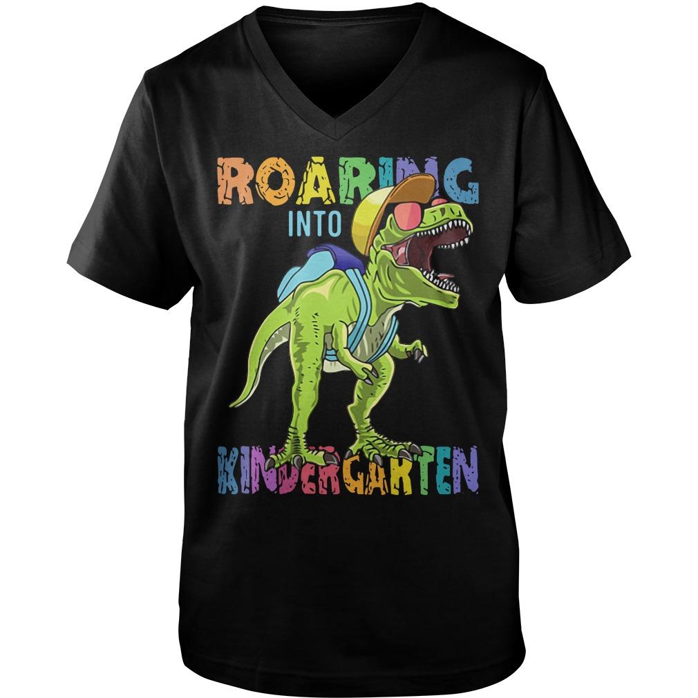 Dinosaur roaring into Preschool Guy V-Neck