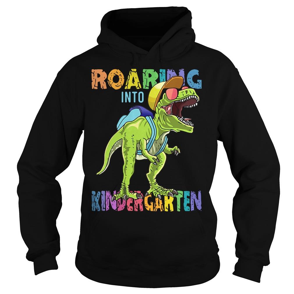 Dinosaur roaring into Preschool Hoodie