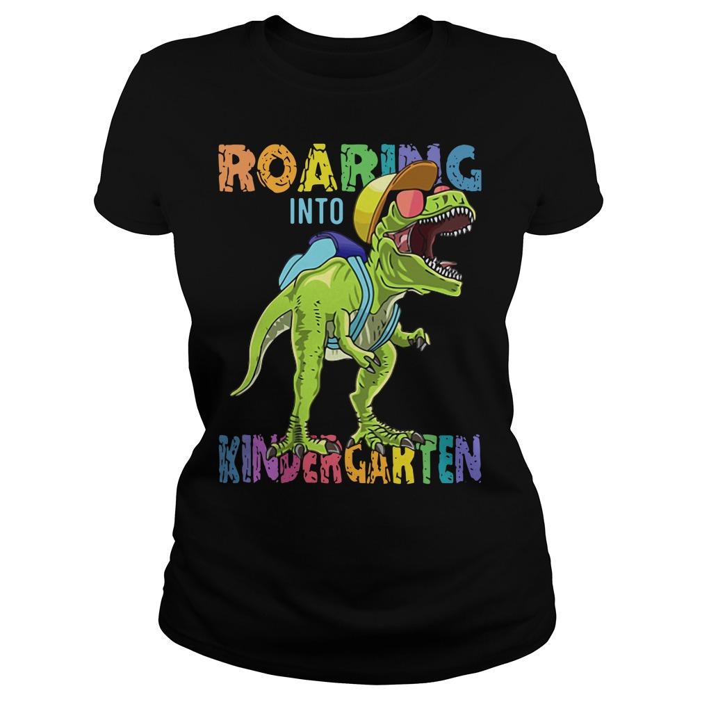 Dinosaur roaring into Preschool Ladies Tee