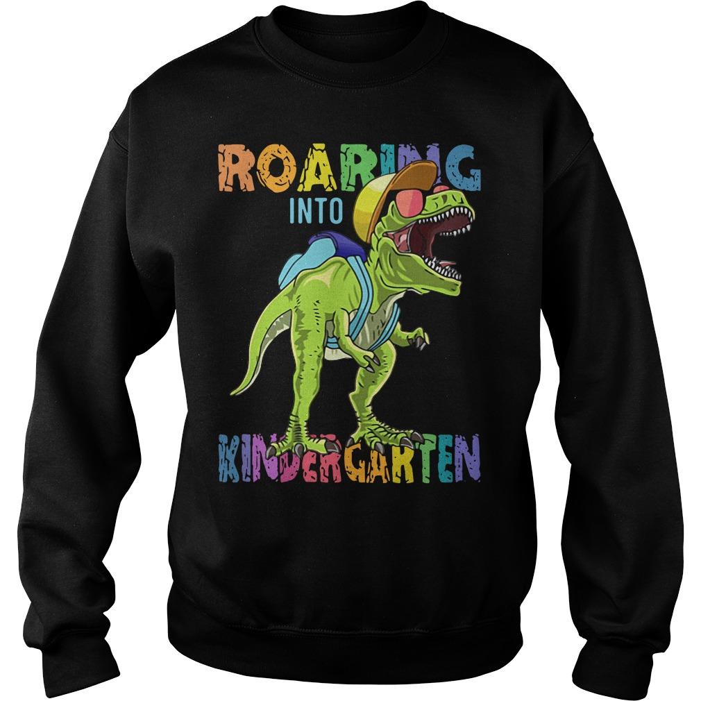 Dinosaur roaring into Preschool Sweater