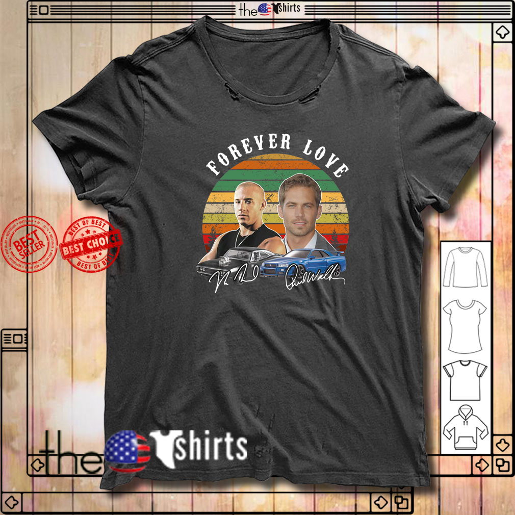Dominic Toretto and Paw Walker forever love sunset shirt