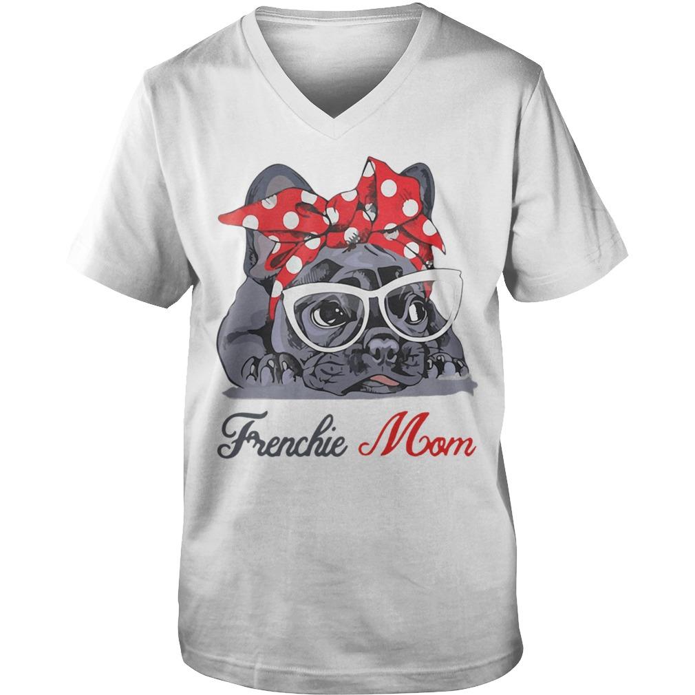 French Bulldog wearing red bandana and glasses Frenchie mom Guy V-Neck