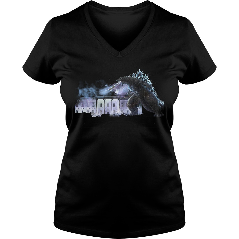 Godzilla atomic breath The White House King of the Monsters V-neck T-shirt