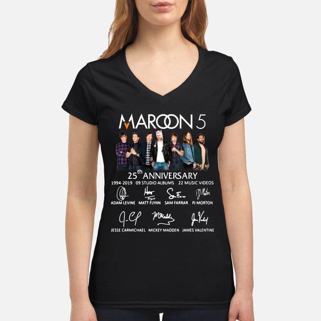Maroon 5 25th anniversary 1994-2019 9 studio albums 22 music videos V-neck T-shirt