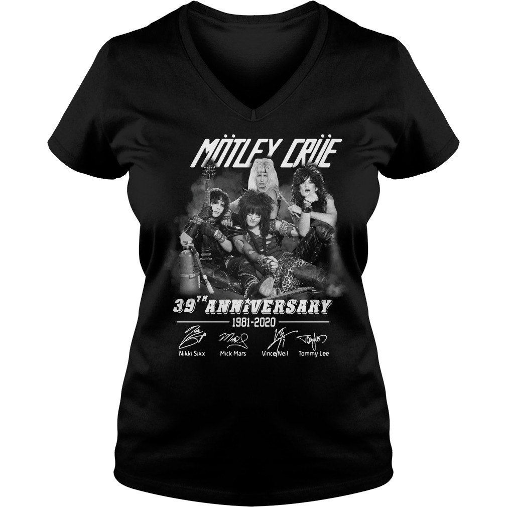 Motley Crue 39th anniversary 1981-2020 signature V-neck T-shirt