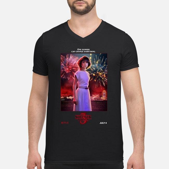 Nancy Wheeler one summer can change everything Stranger Things season 3 V-neck T-shirt