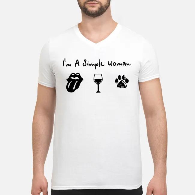 Rolling stones wine and paw dog I like V-neck T-shirt