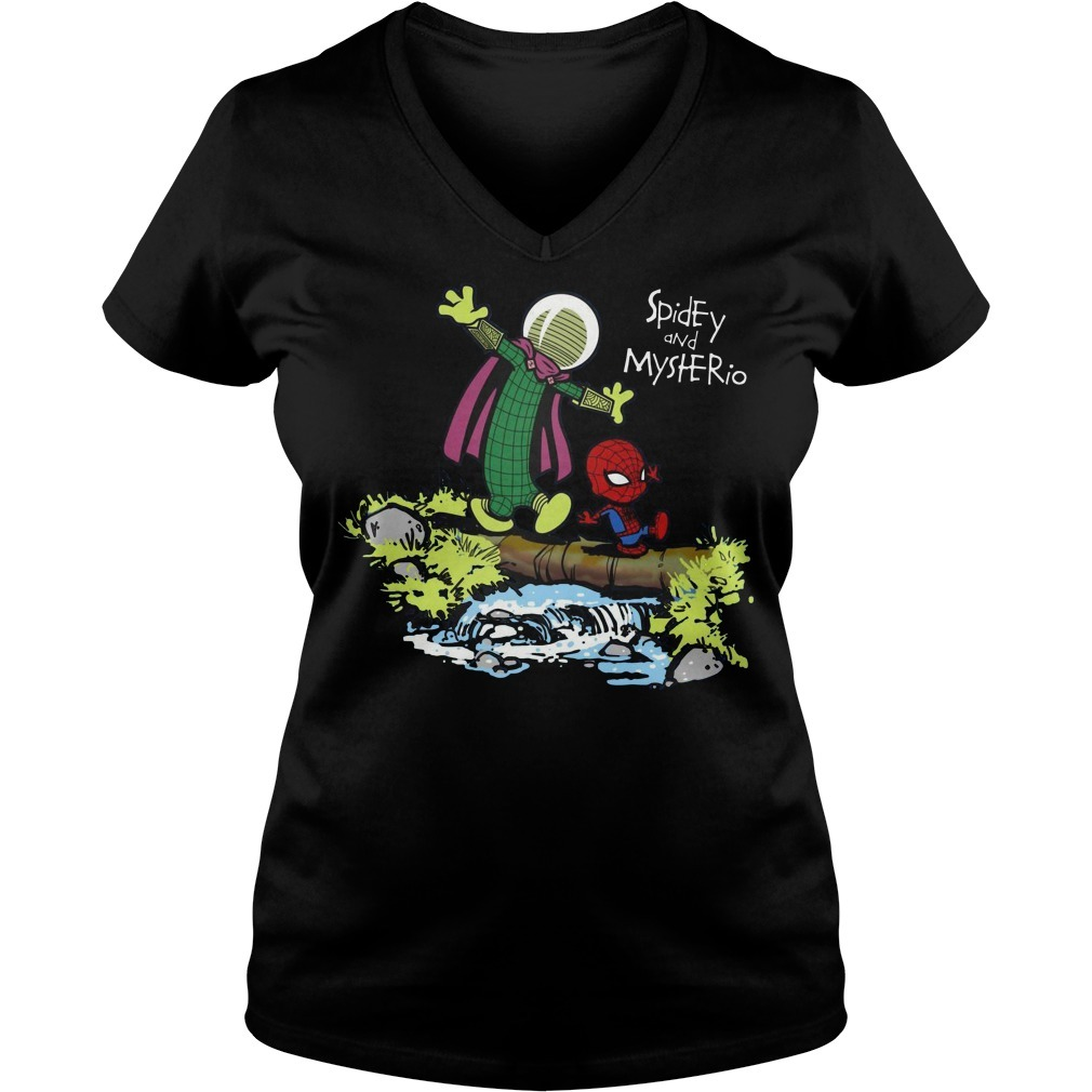Spider-Man and Mysterio Calvin and Hobbes V-neck T-shirt