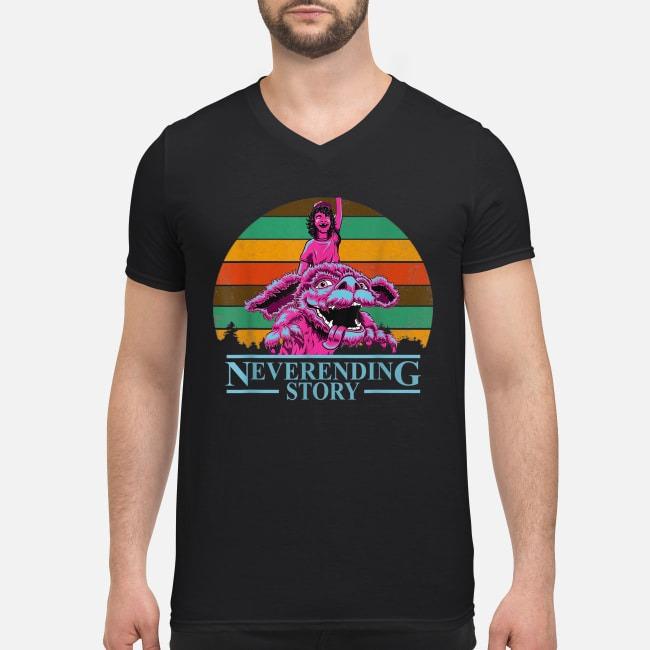 Stranger Things 3 Dustin Henderson neverending story retro V-neck T-shirt