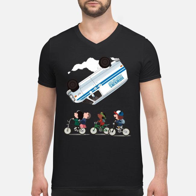 Stranger Things Eleven flip over the Van Hawkins power and light V-neck T-shirt