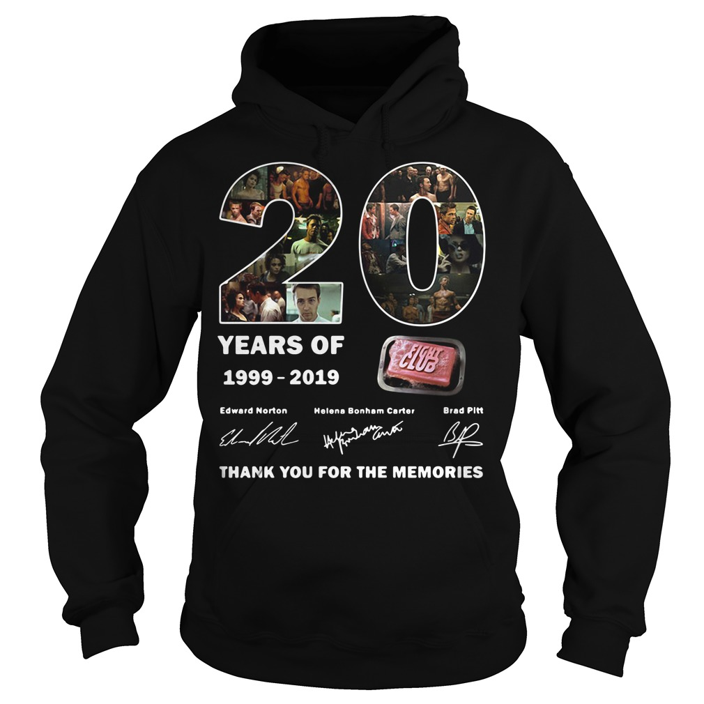 Thank you for the memories 20 years of 1999-2019 Fight Club signature Hoodie