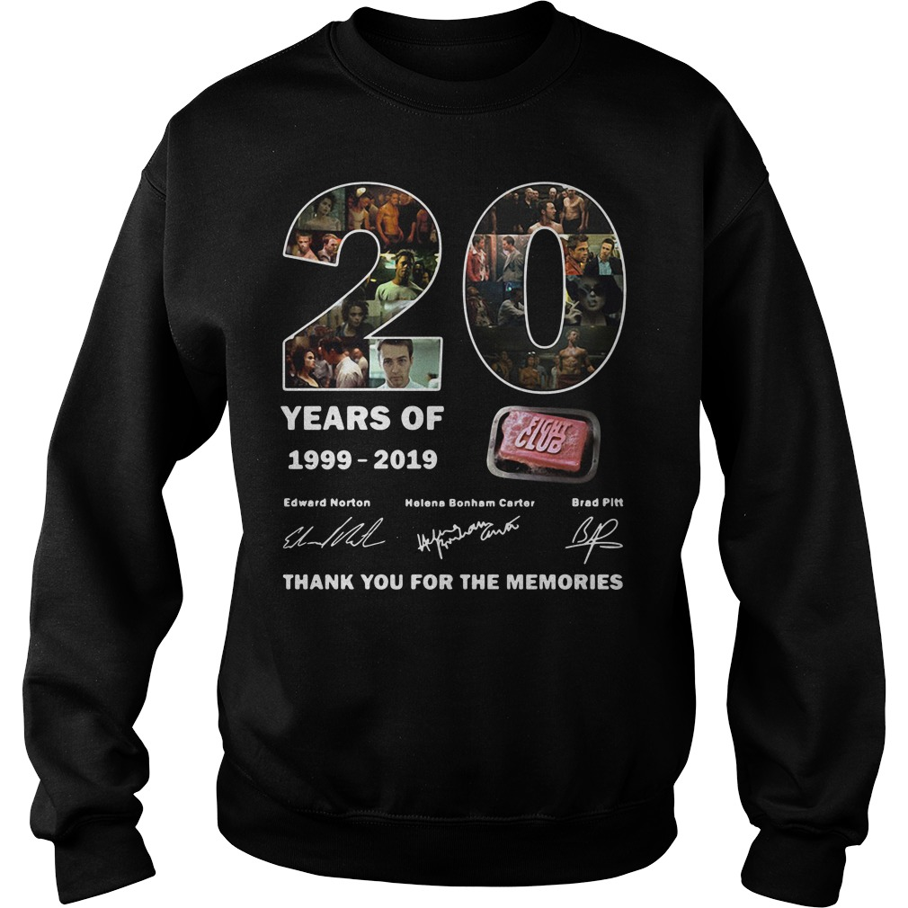 Thank you for the memories 20 years of 1999-2019 Fight Club signature Sweater