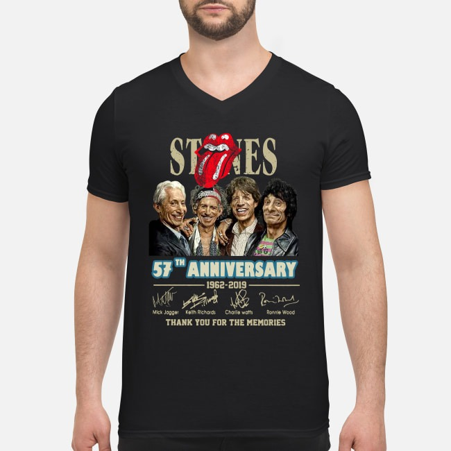 The Rolling Stones 57th anniversary 1962-2019 signatures V-neck T-shirt