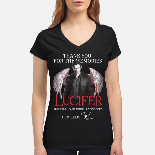 Tom Ellis thank you for the memories Lucifer 2016-2020 04 seasons 67 episodes V-neck T-shirt