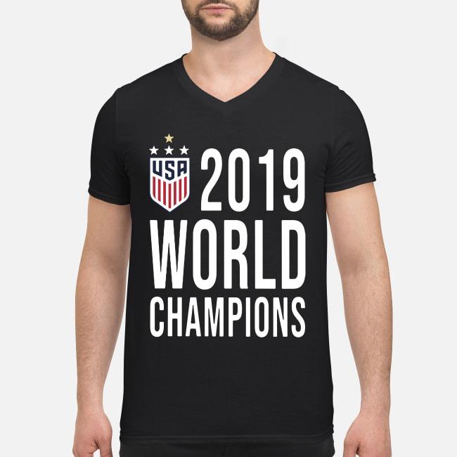 Women Soccer USA 2019 world champions V-neck T-shirt