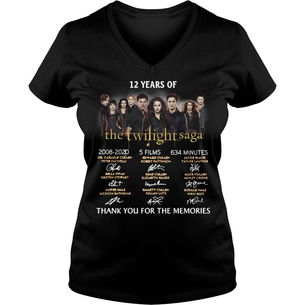 12 Years of The Twilight Saga 2008-2020 signatures V-neck T-shirt