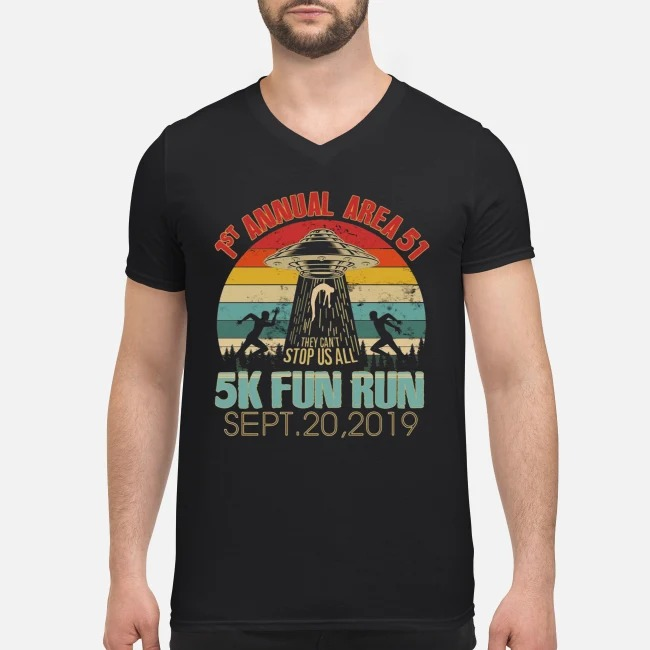 1st Annual Area 51 5K Fun Run UFO Alien vintage V-neck T-shirt