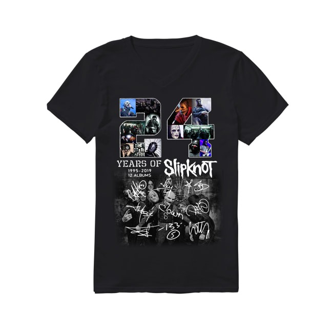 24 Years of Slipknot 1995-2019 12 albums signatures V-neck T-shirt