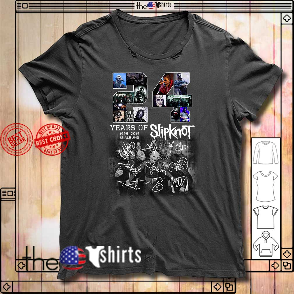 24 Years of Slipknot 1995-2019 12 albums signatures shirt
