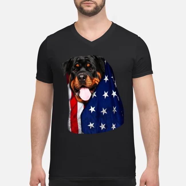 4th July independence day Rottweiler V-neck T-shirt