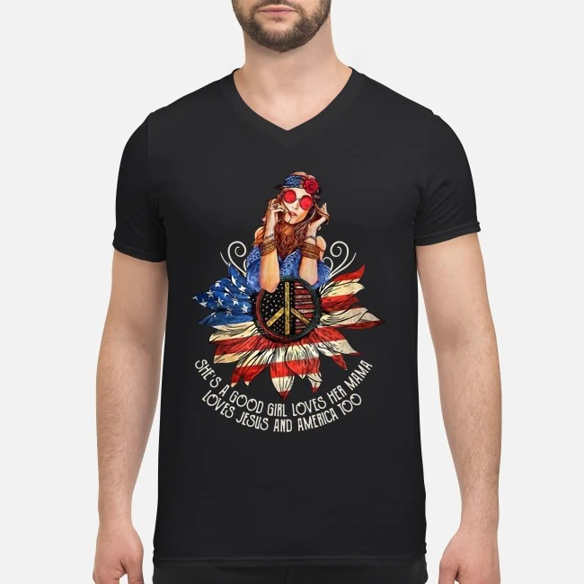 4th Of July independence day hippie girl she's a good girl loves her Mama V-neck T-shirt