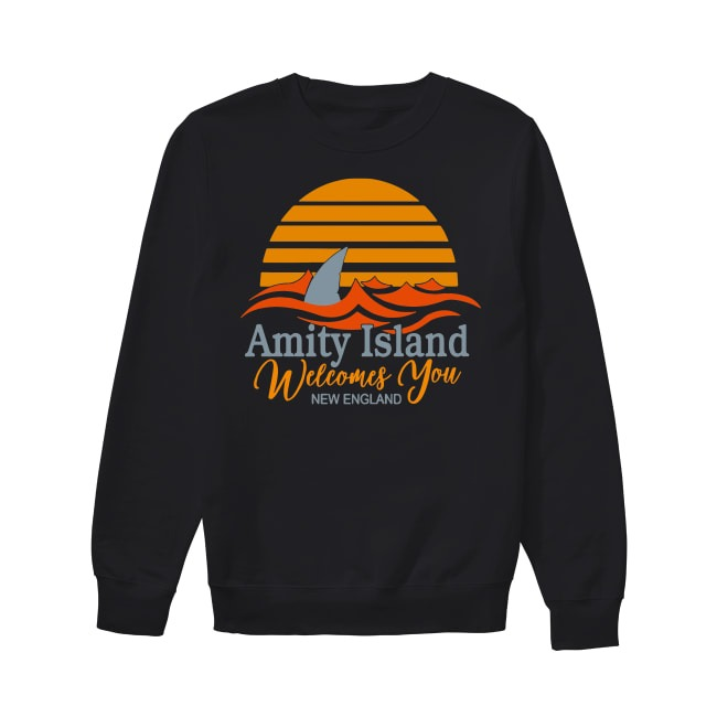 Amity Island welcomes you New England Quint's Shark fishing sunset Sweater