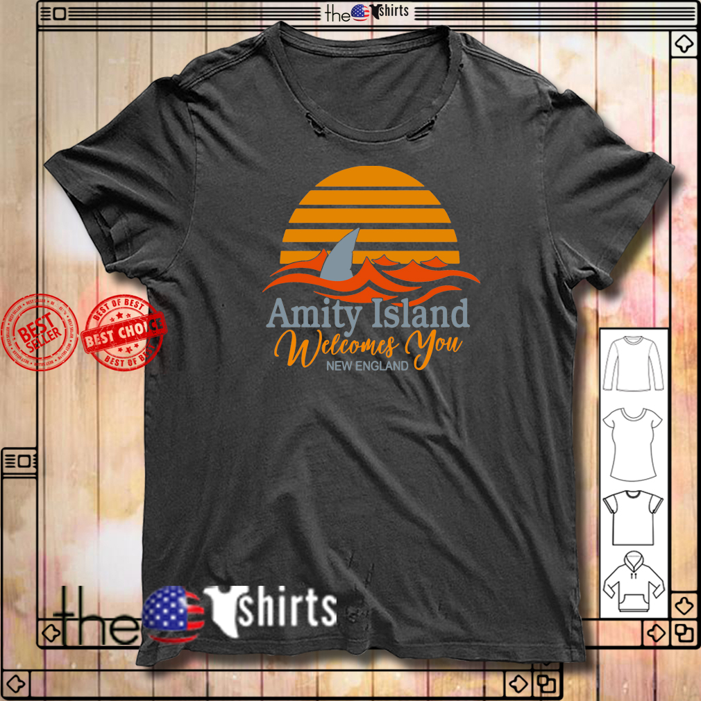 Amity Island welcomes you New England Quint's Shark fishing sunset shirt