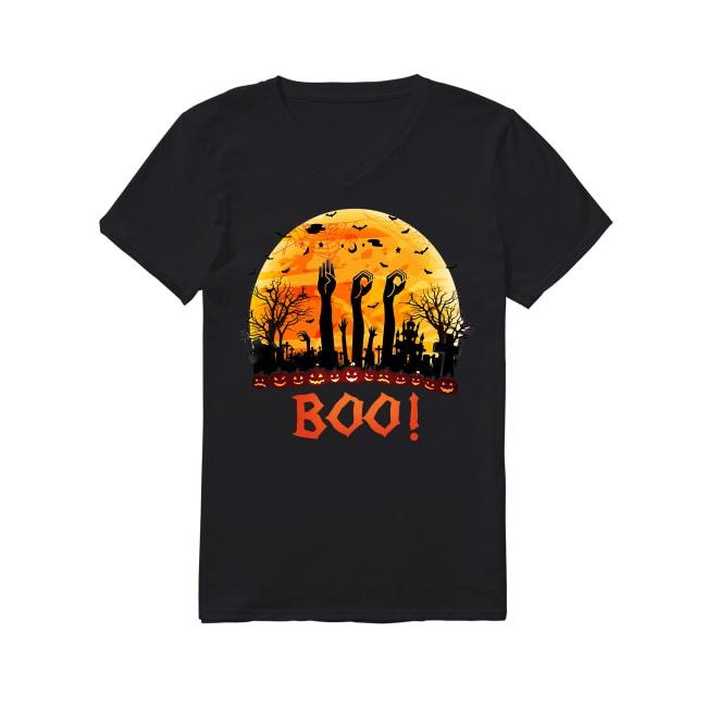Asl Boo Halloween sunset V-neck T-shirt