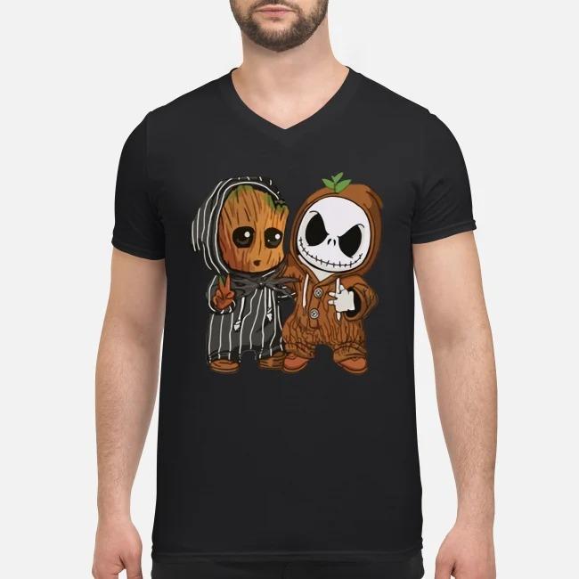 Baby Groot and Jack Skellington V-neck T-shirt