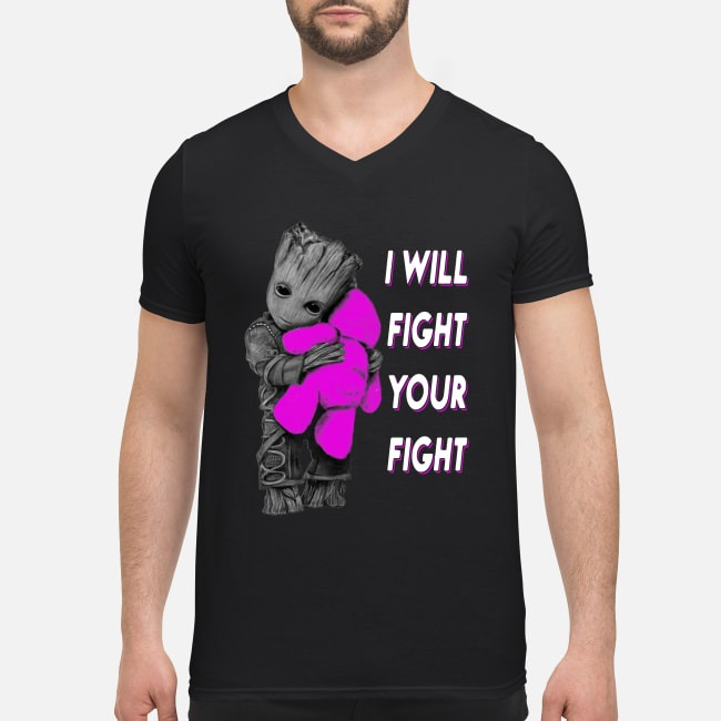 Baby Groot hugs Teddy bear I will fight your fight V-neck T-shirt