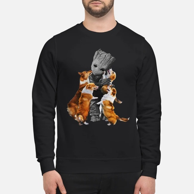 Baby Groot hugs welsh corgi Sweater