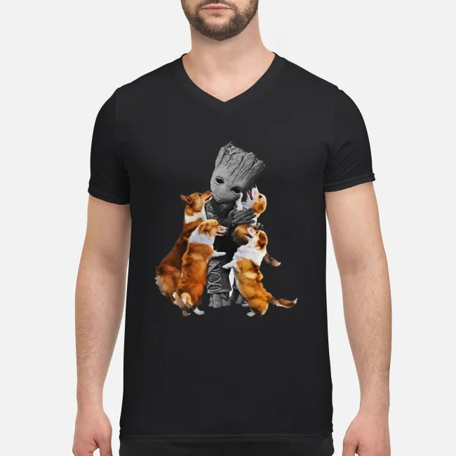 Baby Groot hugs welsh corgi V-neck T-shirt